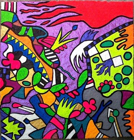 """""""Ramiro junto a los dragones, querubines y bufones"""" Lienzo de papel reciclado, pintura acrílica, pintura de cera y marcador."""